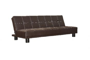Kent 3 Seater Futon Sofa Bed in Black or Brown Faux Leather